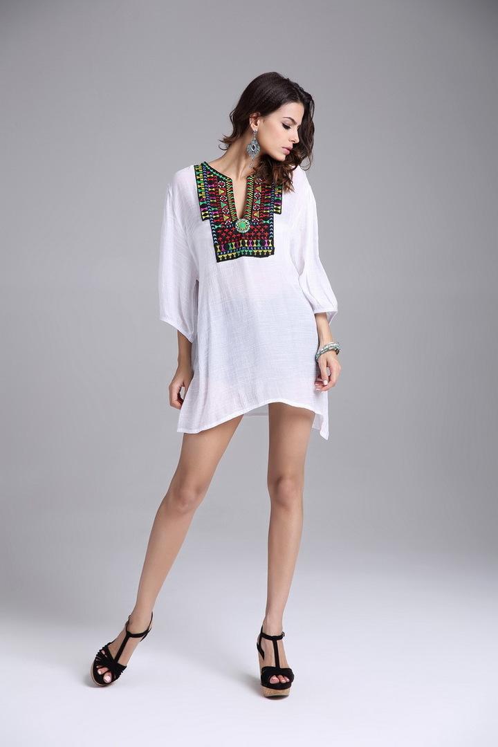 Women blouses shirt Fashion Casual loose printed chiffon blouses 2018 Summer  plus size women tops white 6686f2cd7a74