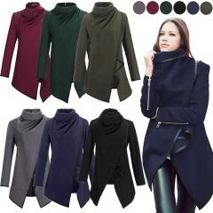 3XL Fashion Women Winter Outerwear Woolen Overcoat Cross Irregular Long Sleeve Medium Style Jackets black S