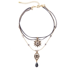 Women Jewellery Gift Multi Layer Necklace Crystal Gemstone Pendant Party Dress Necklace Black 51cm-80cm