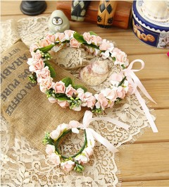Children's Head Flower Garland  Hand Bangle Set Bridesmaid Dress Accessories Birthday Jewelry pink