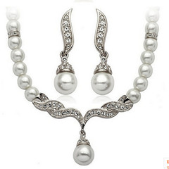 Fashion Bridal Jewelry Set Alloy Diamond Pearl Necklace Earrings Set Luxury Wedding Accessories 8618 silver as picture