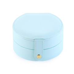 Jewelry Accessories Multi-layer Leather Small Jewelry Box Earrings Rings Storage Box SH9875 light blue as picture