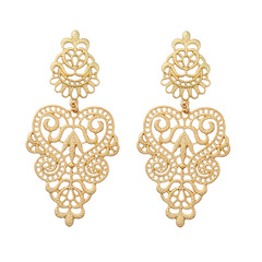Fashion Jewelry Alloy Hollow Flower Earrings Personalized Holiday Eardrops Gold 0ed00357 gold one size