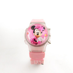 New Fashion Children Watches Cartoon Minnie Silicone Colorful Lights Watch 0014 pink one size