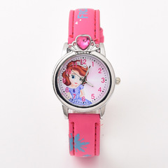 Fashion Cartoon Kid's Watch Princess Leather Belt Watch Quartz Watch 0434 red one size