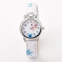 Fashion Cartoon Kid's Watch Princess Leather Belt Watch Quartz Watch 0434 white one size