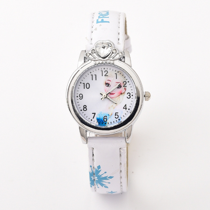 Fashion Cartoon Kid's Watch Princess Leather Belt Watch Quartz Watch 0434 white one size