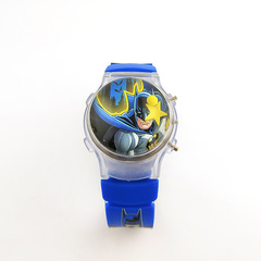 Fashion Cartoon Boy's Watch Colorful Flashing Lights Silicone Jelly Batman Electronic Watch blue one size