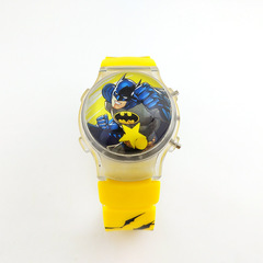 Fashion Cartoon Boy's Watch Colorful Flashing Lights Silicone Jelly Batman Electronic Watch yellow one size