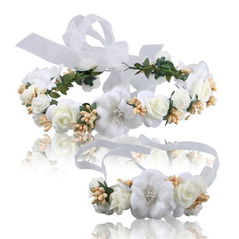 Wedding Accessories Bridal Garland Headband Hand Flower 2piecesset