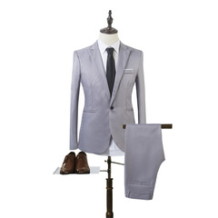 2018 High Quality Business and Leisure Suit A Two Piece Suit The Groom's Best Man Wedding 8 Colors grey l