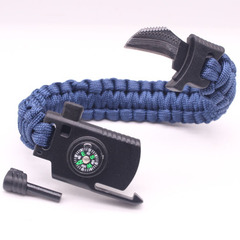 Multifunction Survival Gear Escape Paracord Bracelet Flint And Whistle And Compass Outdoor Tools navy 23CM
