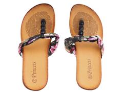 Black Flowered Flip flops/Sandals(Size 40)