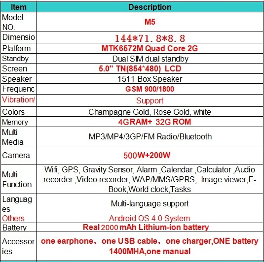 """Android Smartphone m5 High Resolution Screen MTK6572M 5.0"""" TN(854*480) LCD 4G Mobile Cell rose gold 1"""