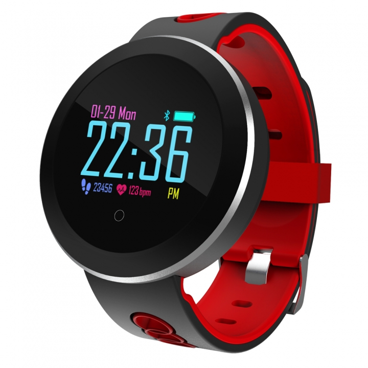 Q8 smartwatch fitness pulse meter heart rate and blood pressure monitoring waterproof sport bracelet Black red one size
