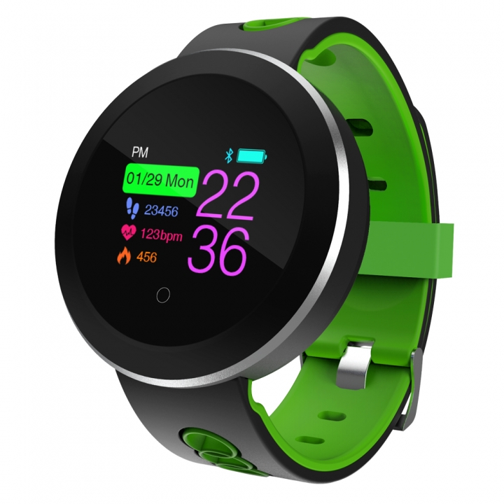 Q8 smartwatch fitness pulse meter heart rate and blood pressure monitoring waterproof sport bracelet Black green one size
