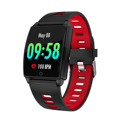 R17 smart watch sports fashion waterproof heart rate and blood pressure fatigue detector Black red one size