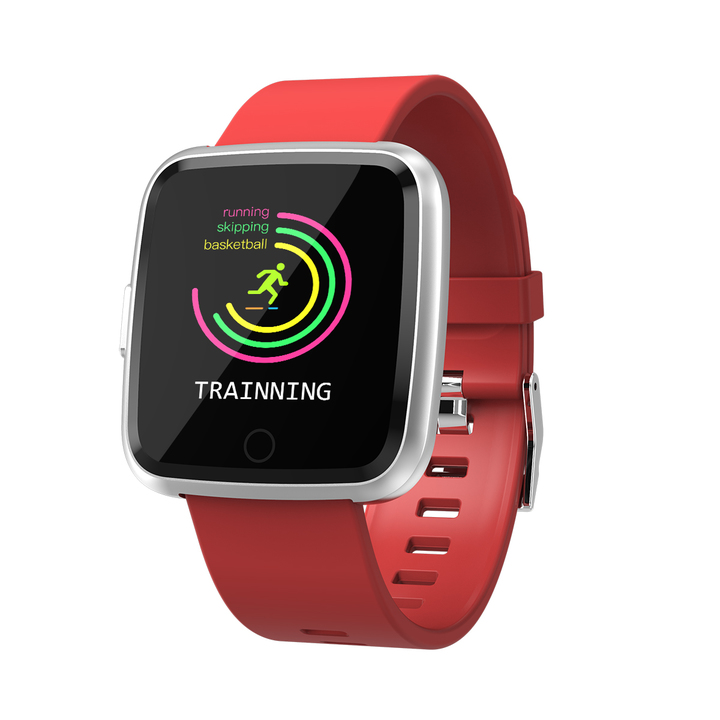 Y7 smart watch sports fashion waterproof calls to remind heart rate and blood pressure detector red one size