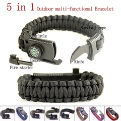 5 In 1 Multifunction Outdoor Survival Gear Escape Para cord Bracelet Outdoor Camping Tools Bracelet black one size