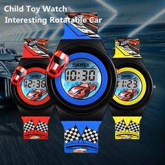 Child Toy Watch Boy LCD Digital Display Kids Wristwatch Cartoon Rotatable Car Anti-allergic Strap red one size