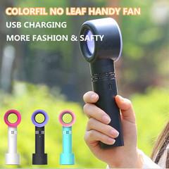Fashion Colorful No Leaf Handy Fan Electric Bladeless Fan Portable Cordless Mini Handheld Fan Green