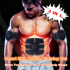 3 In 1 Smart EMS Muscle Training Gear Fitness Body Shape Trainer Abdomen Arm Muscle Training Belt black one size