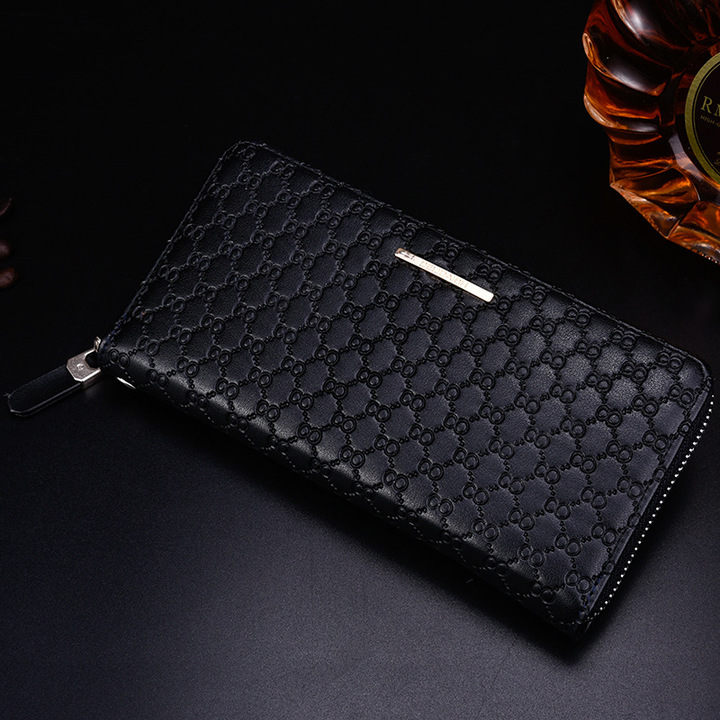 cecc35c338 Men High Capacity Long Wallet Card Holder PU Leather Coin Purses Male  Clutch Bag Money Zipper