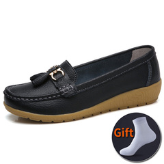 women's Large Size 35-44 Soft Leather Causal Loafers Shoes Moccasins Flats Driving Shoes Black 38