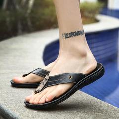 Leather Men Slippers Beach Shoes Men Flip Flops 2018 Summer Flat Heels Male Slides Luxury black 44