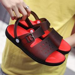 2019 summer men's sandals men's beach shoes open toe outdoor non-slip casual sports sandals BLACK 44