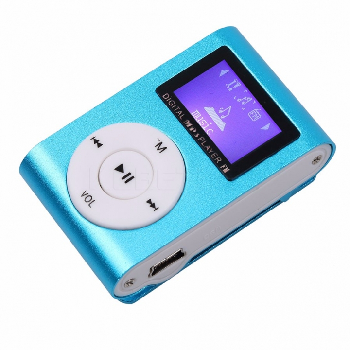 MP3 player mini LCD digital MP3 player clip USB FM radio support 32GB micro sd tf card UK BLUE