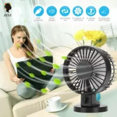 2est USB Desk Mini Fan, Quiet Table Fan 2 Speed Modes for Home Room Office Table,Black black