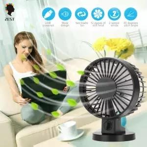 2est USB Desk Mini Fan, Quiet Table Fan 2 Speed Modes for Home Room Office Table,Black black