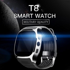2est T8 Bluetooth Smart Watch With Camera Music Player For Android black one size