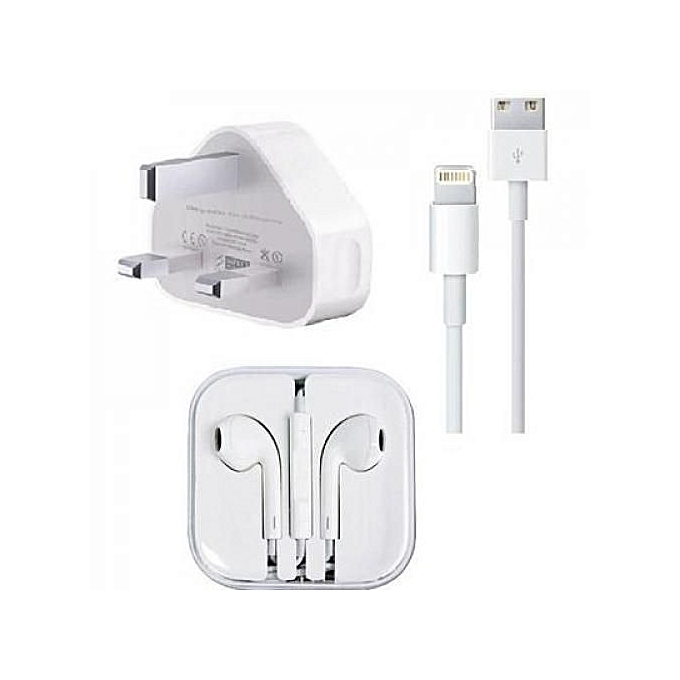 Universal Iphone Charger &  iPhone and android universal earphone & USB data cable for iphone white Universal