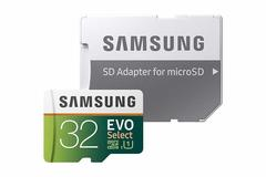 Samsung 32GB 95MB/s (U1) MicroSD EVO Select Memory Card with Adapter (MB-ME32GA/AM) as shown samsung 32gb 95mb/s