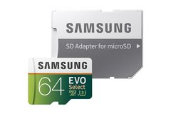 Samsung 64GB 100MB/s (U3) MicroSDXC EVO Select Memory Card with Adapter (MB-ME64GA/AM) as shown samsung 64gb 100mb/s