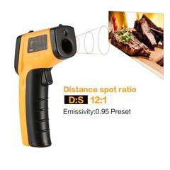 BENETECH GM320 LCD Non-Contact IR Laser Infrared Temperature Thermometer G*un YELLOW