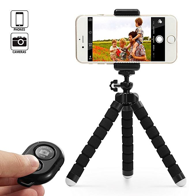 2EST Octopus Tripod Stand Holder & Remote For Smartphones & Camera black 3*3*17.5cm