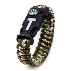 Outdoor Survival Hand Rope Clasp Bracelet with Compass as shown normal size