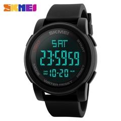 SKMEI 1257 Men LED Digital Calendar Watch 50m Waterproof Sports Wristwatch black normal size