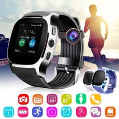 T8 Bluetooth Smart Watch Sleep Monitor Support Android Smartphone SIM TF Card Smart Watches black normal size