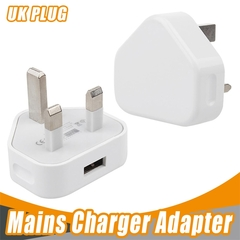 2EST High quality 3 Pin UK Plug Single usb Charger Chargers AC usb Power Adapter Charger 1A white universal