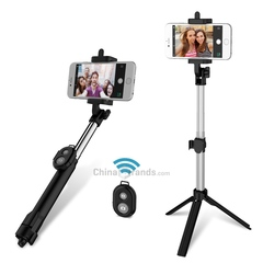 3 in 1 Handheld Extendable Bluetooth Selfie Stick Tripod Monopod Remote black 19-83cm