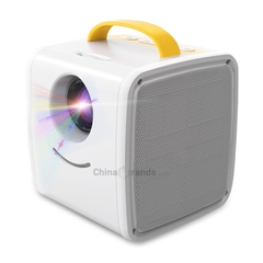 Q2 Portable Mini LCD Projector Home Theater Dual Speakers Support Full HD 1080P yellow EU PLUG