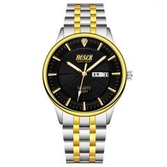 Bosck Men Brand Fashion Business Watch Double Calendar Waterproof Male Classic Quartz Watch black normal size