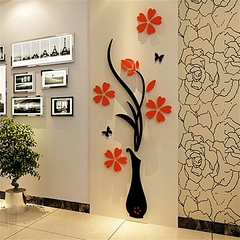 2est 3D Acrylic Vase & Plum Pattern Room TV Backdrop Entrance Home Wall Sticker 80cm x 30cm