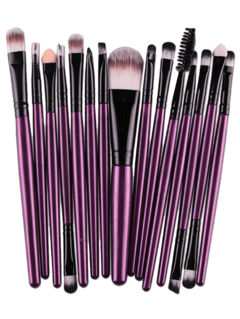 Stylish Multifunction 15 Pcs Plastic Handle Nylon Makeup Brushes Set PURPLE