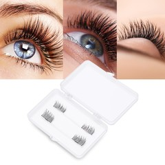 2 Pairs Natural Beauty Magnet Handmade Thick Cross False Eyelashes Extension