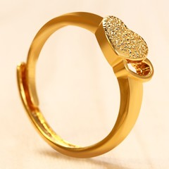 18K Electroplate Gold Color Double Hearts Adjustable Ring for Women GOLDEN